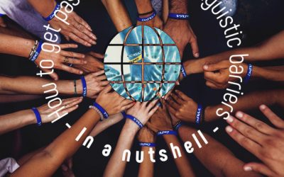 Hands meeting in center of a circle where there is an image of the world and go demand and sancheng digital logos representing cultural and linguistic barriers